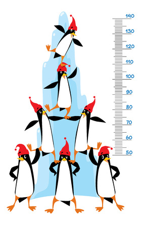 Meter wall or height meter of funny penguins in beanie or cap with pompom or bobble, near the ice rock. Children vector illustration with a scale to measure growth. Height chart