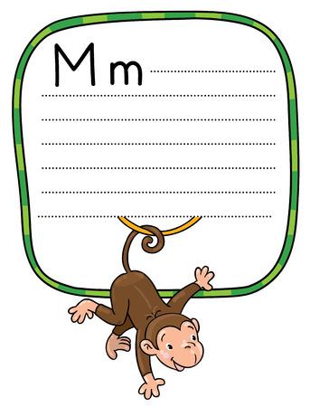 Kinderen vector illustratie van kleine grappige aap op lians. Alfabet M. Inclusief frame met lijnen en plaats voor het schrijven