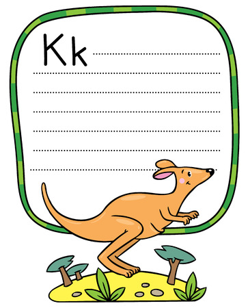 Children vector illustration of little funny jumping kangaroo, running through the desert. Alphabet K. Including frame with lines and place for writing