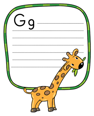 g giraffe: Children vector illustration of little funny giraffe eating green leafs. Alphabet G. Including frame with dotted lines and place for writing Illustration