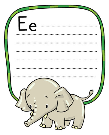 jumbo: Children vector illustration of little funny elephant or jumbo. Alphabet E. Including frame with dotted lines and place for writing