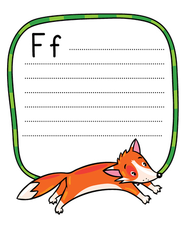 Children vector illustration of little funny jumping fox. Alphabet F. Including frame with dotted lines and place for writing