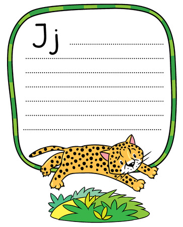 gepard: Children vector illustration of little funny jumping cheetah or jaguar. Alphabet J. Including frame with dotted lines and place for writing