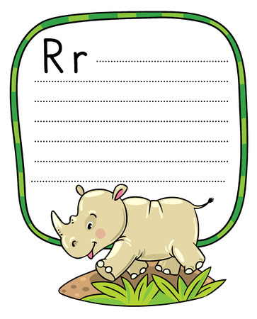 clumsy: Children vector illustration of little funny rhino, running down the road. Alphabet R. Including frame with dotted lines and place for writing