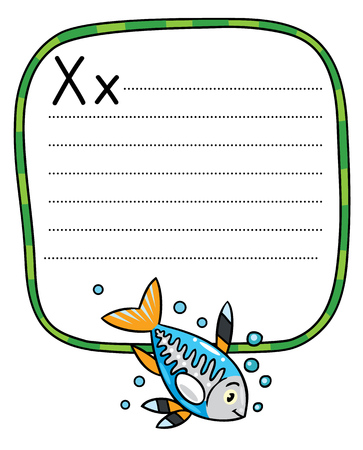 Children vector illustration of funny little x-ray fish. Alphabet X. Including frame with dotted lines and place for writing