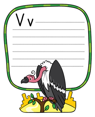 Children vector illustration of funny vulture sitting high on a branch above the Prairie. Alphabet V. Including frame with dotted lines and place for writing