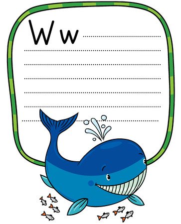 place for children: Children vector illustration of funny little whale. Alphabet W. Including frame with dotted lines and place for writing