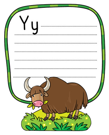 place for children: Children vector illustration of funny grazing wild yak. Alphabet Y. Including frame with dotted lines and place for writing
