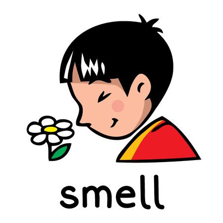 Iconos de uno de los cinco sentidos - olor. Los niños ilustración vectorial de niño en camiseta roja que cerró los ojos y oler la flor
