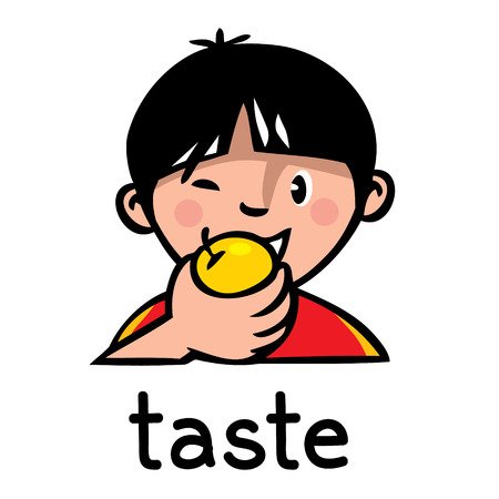 Icons of one of five senses - taste. Children vector illustration of boy in red t-shirt who eating an apple