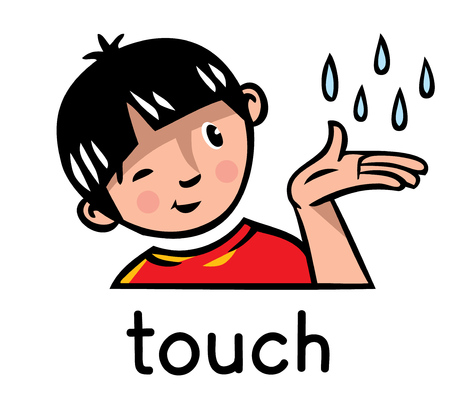 Icons of one of five senses - touch. Children vector illustration of boy in red t-shirt who holds his hand, which falling raindrops