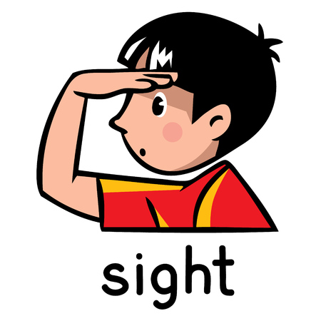 Icons of one of five senses - sight. Children vector illustration of boy in red t-shirt, who put a hand to his forehead 免版税图像 - 64645745
