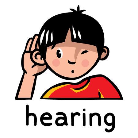 오감 중 하나의 아이콘 - 청력. 어린이 빨간 t- 셔츠 누가 귀를 팽창 하 고 듣고 소년의 벡터 일러스트 레이 션