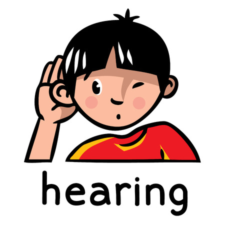 Icons of one of five senses - hearing. Children vector illustration of boy in red t-shirt who bulge ear and listening