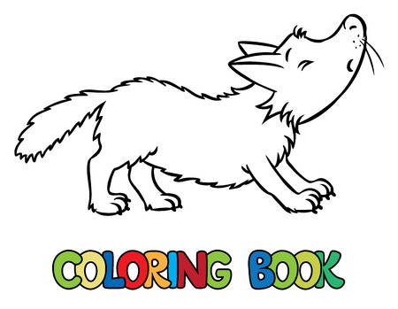howl: Coloring book or coloring picture of lttle funny howling wolf. Children vector illustration Illustration