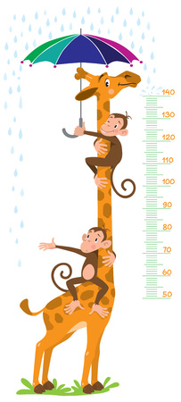 height measure: Cheerful funny giraffe and two monkeys with umbrella under the rain. Height meter or meterwall or wall sticker. Childrens vector illustration with scale from 50 to 140 centimeter. Illustration
