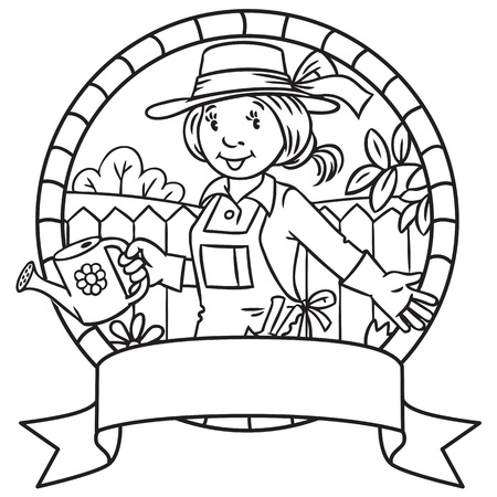 tending: Emblem or coloring book of funny gardener. Woman in gloves, hat and watering can tending the flowers in the garden. Profession series. Childrens vector illustration.