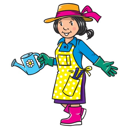 Childrens vector illustration of funny gardener. Woman in gloves, hat and watering can tending the flowers in the garden. Profession series.