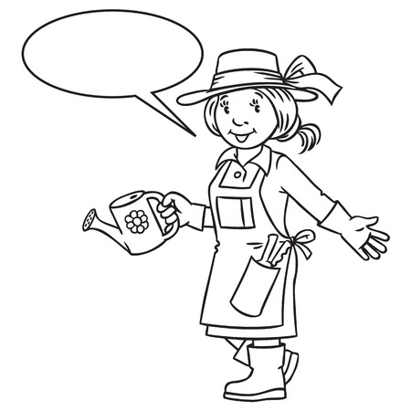 tending: Coloring picture or coloring book of funny gardener. Woman in gloves, hat and watering can tending the flowers in the garden. Profession series. Childrens vector illustration. With balloon for text