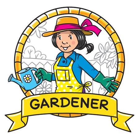 pinafore: Emblem of funny gardener. Woman in gloves, hat and watering can tending the flowers in the garden. Profession series. Childrens vector illustration.