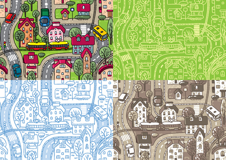 grass area: Set of four seamless background pattern with streets, tram rails, roads, houses and trees. Children vector illustration