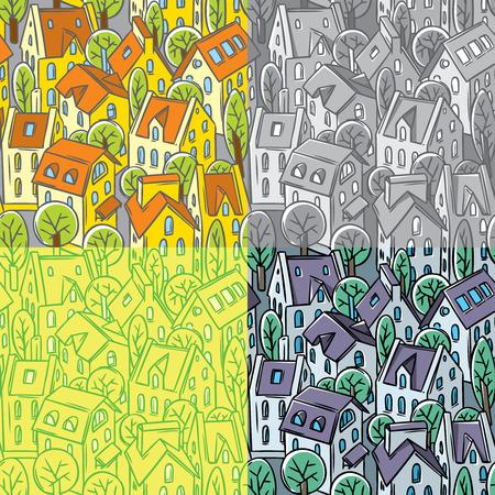 fiambres: Modelo inconsútil de la ciudad fijada con casas, árboles y tejados en cuatro diseños diferentes