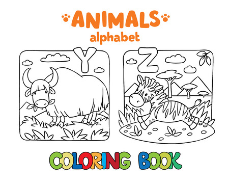 funny ox: Coloring book or coloring picture of funny yak and zebra. Animals zoo alphabet or ABC. Illustration