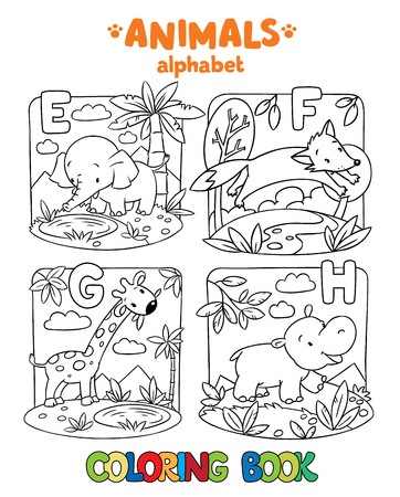 behemoth: Coloring book or coloring picture of funny elephant, fox, hippo and giraffe. Animals zoo alphabet or ABC.