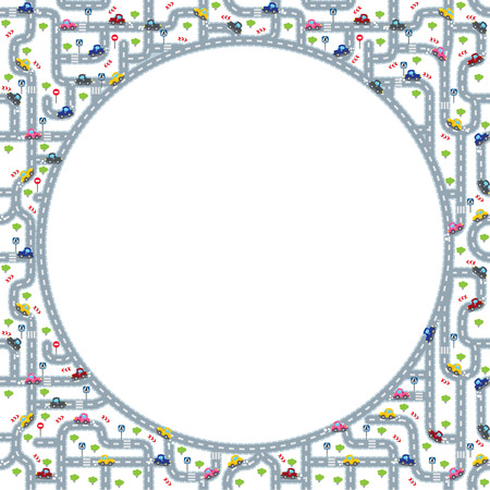 grass area: Funny round frame or border of roads, grass areas and cars. Children vector illustration or background. Design template