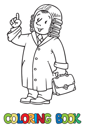 court room coloring picture or coloring book of funny judge a man in barrister