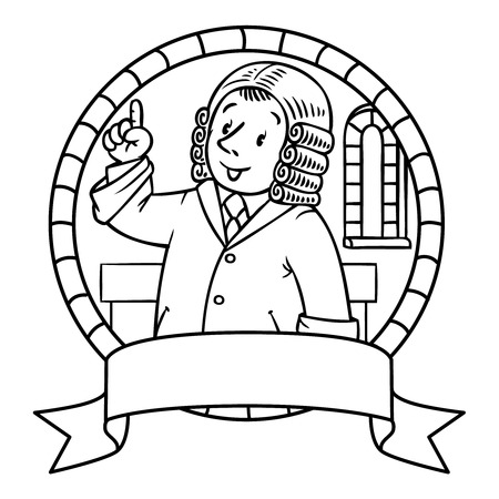 wig: Emblem or coloring book of funny judge. A man in barrister wig, dressed in mantle, with briefcase understand thumbs up. Profession series. Childrens vector illustration. Illustration