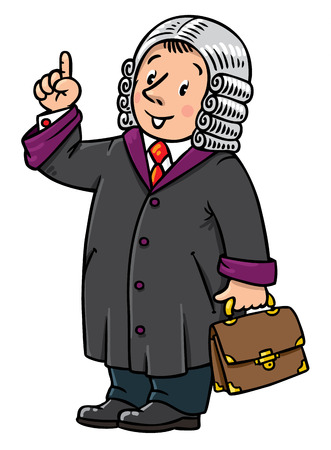 barrister: Children vector illustration of funny judge. A man in barrister wig, dressed in mantle, with briefcase understand thumbs up. Profession series.