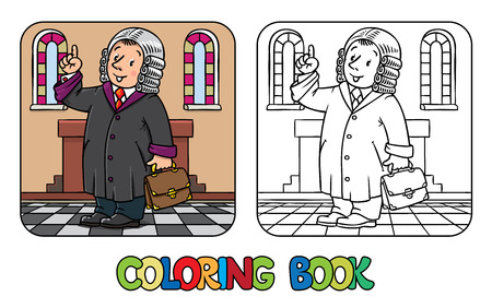 barrister: Coloring picture or coloring book of funny judge. A man in barrister wig, dressed in mantle, with briefcase understand thumbs up. Profession series. Childrens vector illustration. Illustration