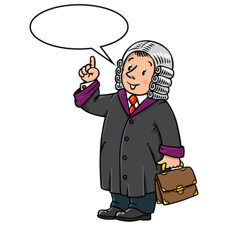 Children vector illustration of funny judge. A man in barrister wig, dressed in mantle, with briefcase understand thumbs up. Profession series. With balloon for text