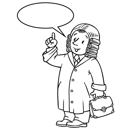 barrister: Coloring picture or coloring book of funny judge. A man in barrister wig, dressed in mantle with briefcase understand thumbs up. Profession series. Childrens vector illustration. With balloon for text