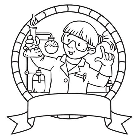 Coloriage ou livre de coloriage de chimiste drôle ou scientifique. Une femme dans des verres vêtu d'une blouse de laboratoire et des gants avec cornue de smocks ou un flacon. Série Profession. vecteur Childrens illustration.
