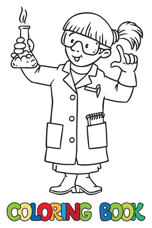 smocking: Coloring picture or coloring book of funny chemist or scientist. A woman in glasses dressed in a lab coat and gloves with smocking retort or vial. Profession series. Childrens vector illustration. Illustration