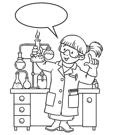 smocking: Coloring picture or coloring book of funny chemist. A woman in glasses dressed in a lab coat and gloves with smocking retort. Profession series. Childrens vector illustration. With balloon for text