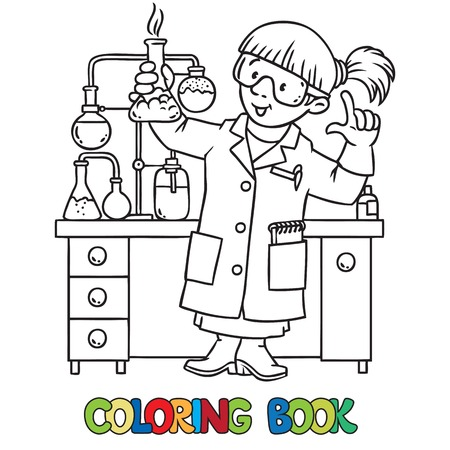 Coloring Picture Or Coloring Book Of Funny Chemist Or Scientist ...