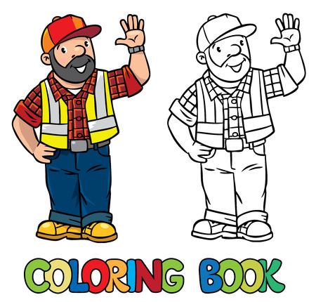 Colorear La Imagen O Para Colorear Libro De Trabajador De La ...