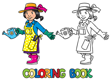 pinafore: Coloring picture or coloring book of funny gardener. Woman in gloves, hat and watering can tending the flowers in the garden. Profession series. Childrens vector illustration. Illustration