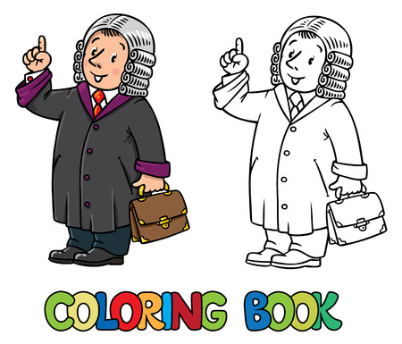 wig: Coloring picture or coloring book of funny judge. A man in barrister wig, dressed in mantle, with briefcase understand thumbs up. Profession series. Childrens vector illustration. Illustration