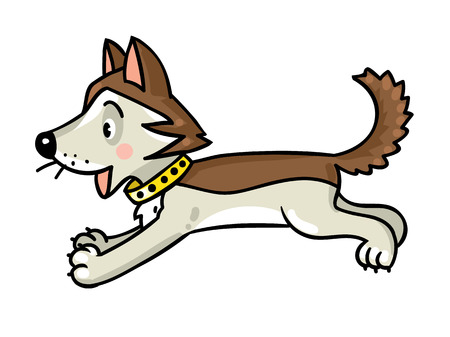 Children vector illustration of funny jumping little happy husky dog or puppy.