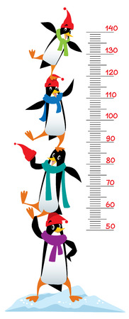 height chart: Meter wall or height meter of funny penguins in beanie or cap with pompom or bobble, in scarves, on the ice rock.  illustration with a scale to measure growth. Height chart