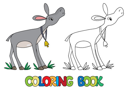 instrumentalist: Coloring book or coloring picture of funny donkey with bell on stripe on his neck Illustration