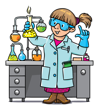 Childrens vector illustration of funny chemist or scientist. A woman in glasses dressed in a lab coat and gloves with smocking retort. Profession series.