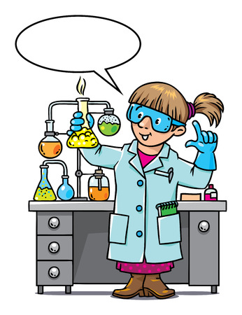 smocking: Childrens vector illustration of funny chemist or scientist. A woman in glasses dressed in a lab coat and gloves with smocking retort. Profession series. With balloon for text