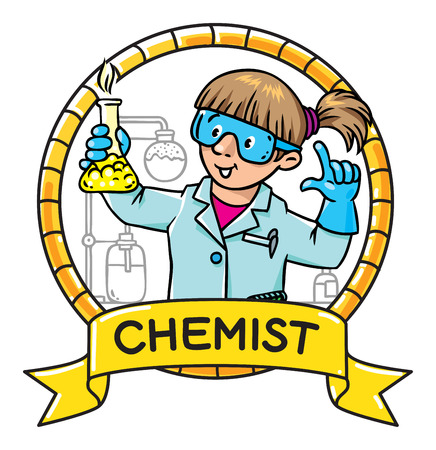 Childrens vector illustration or emblem of funny chemist or scientist. A woman in glasses dressed in a lab coat and gloves with smocking retort. Profession series. Illustration