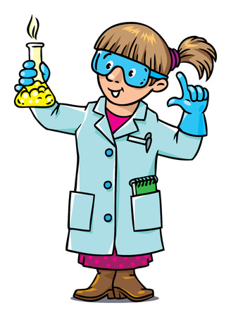 smocking: Childrens vector illustration of funny chemist or scientist. A woman in glasses dressed in a lab coat and gloves with smocking retort. Profession series.
