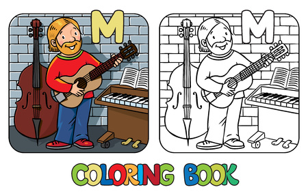 coloration: Coloring book of funny musician or guitarist or artist with guitar on wall background near small piano and contrabass. Profession ABC series. Children vector illustration. Alphabet M